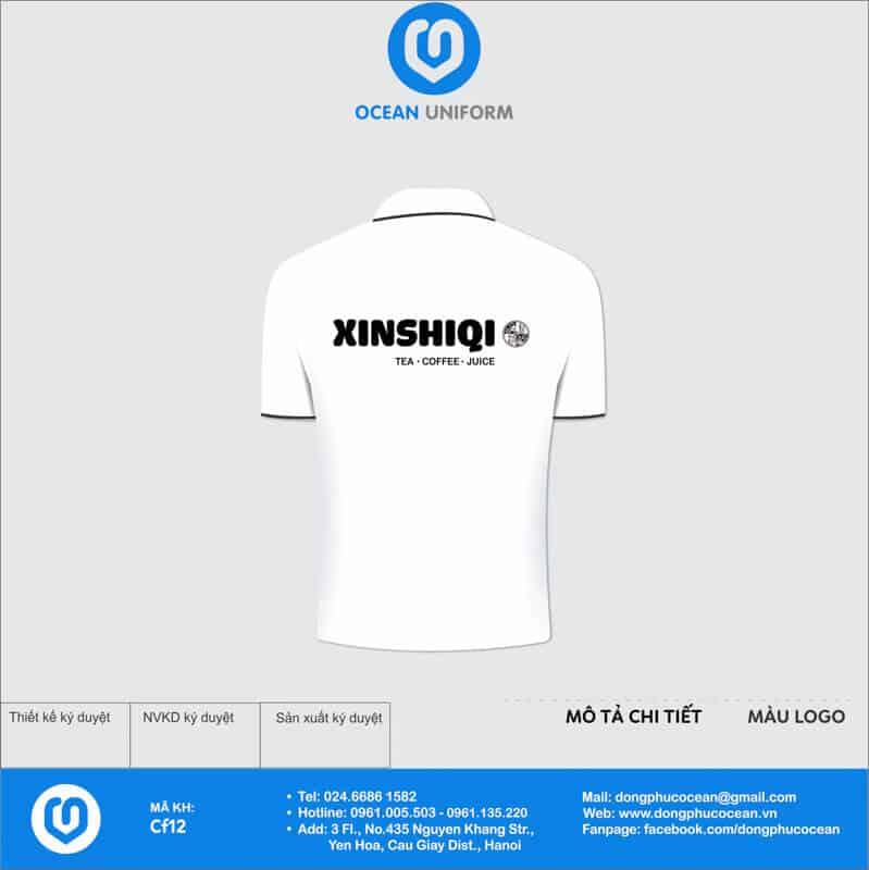 Áo thun đồng phục quán cà phê - Trà sữa Xinshiqi mặt sau