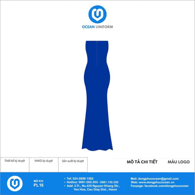 Đồng phục PG váy maxi tà dài màu xanh mặt sau