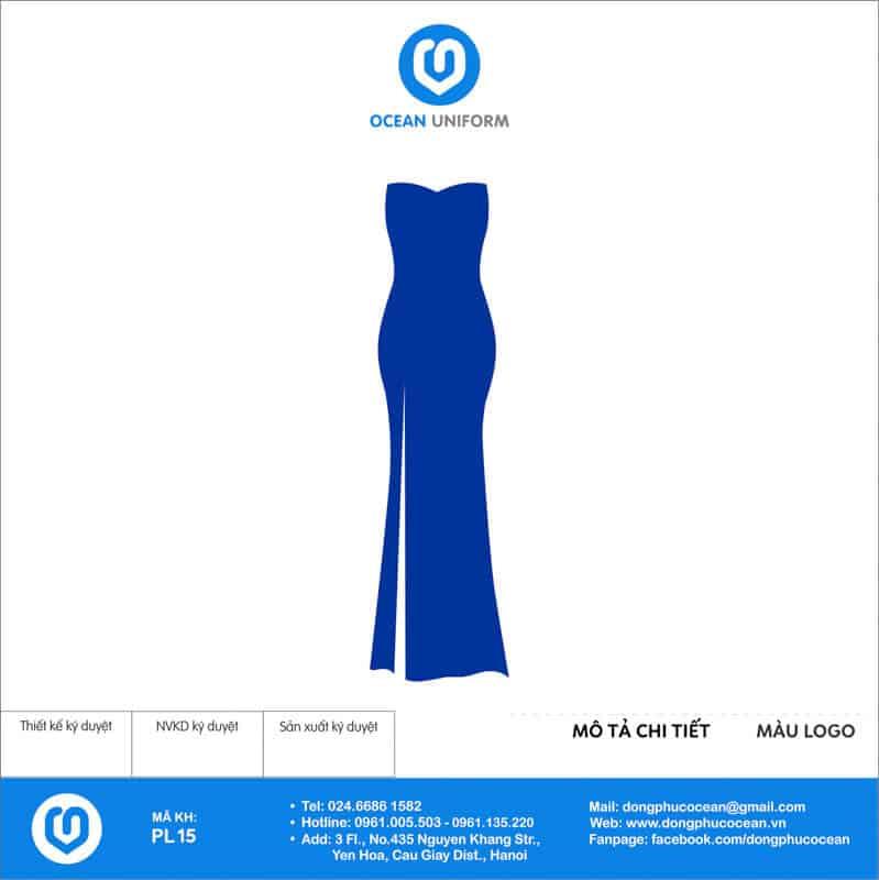 Đồng phục PG váy maxi tà dài màu xanh
