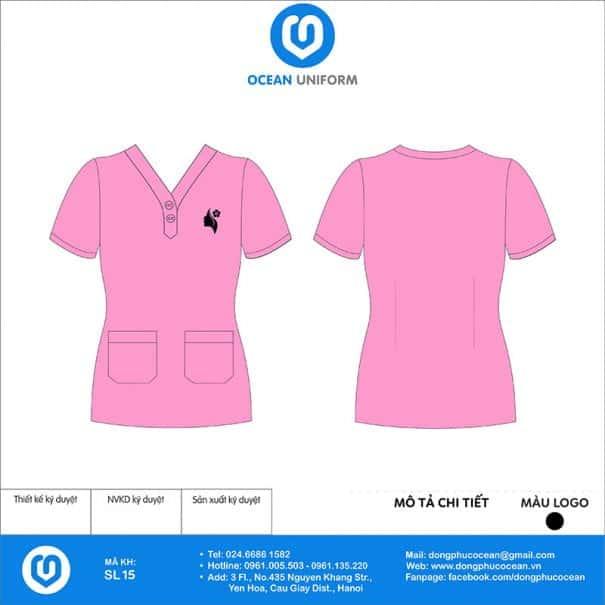 Bộ đồng phục Spa màu hồng