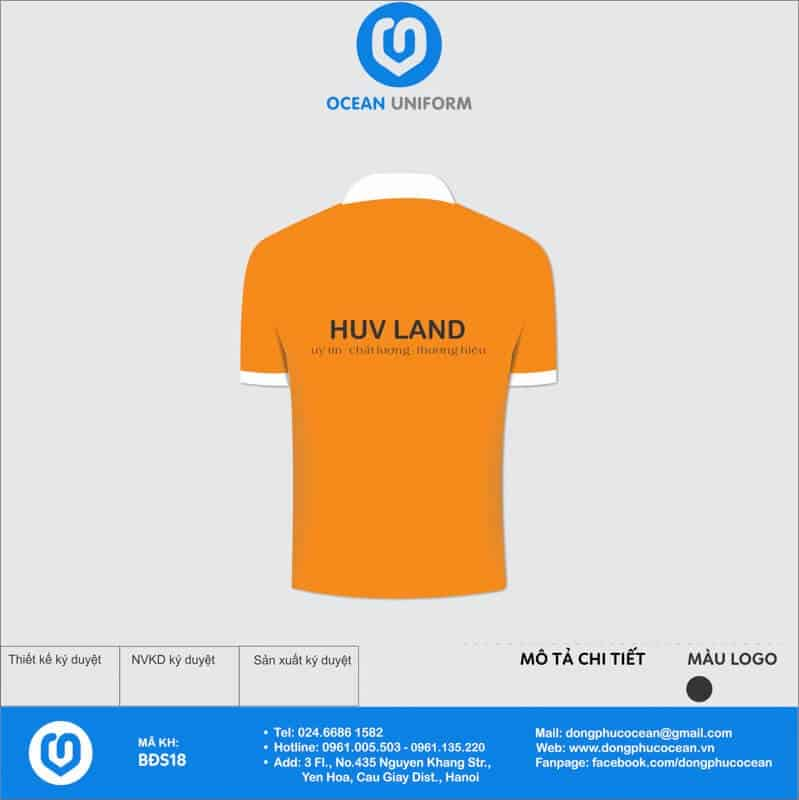 Đồng phục văn phòng Công ty Xây dựng HUV Land mặt sau