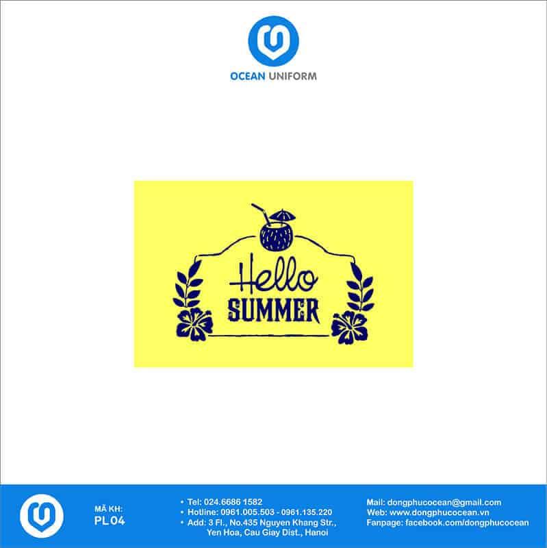 Họa tiết đồng phục đi biển Hello Summer màu vàng chữ xanh