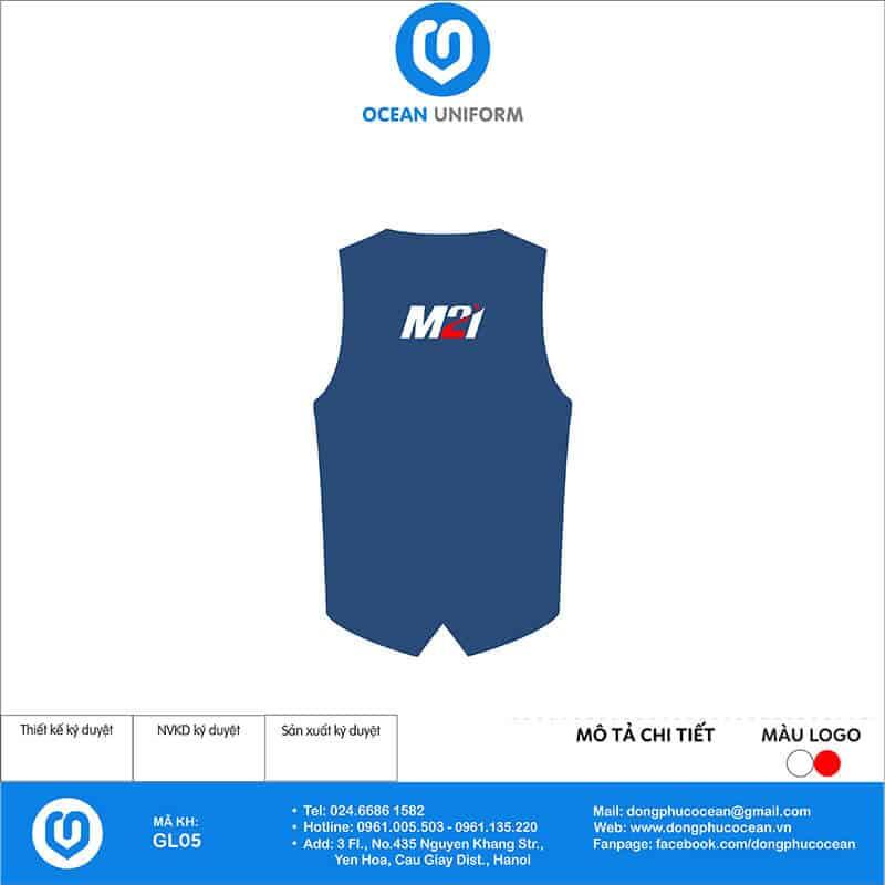 May áo khoác Gile đồng phục Công ty M2I mặt sau