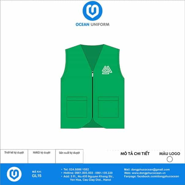 May áo khoác Gile đồng phục màu xanh lá logo trắng