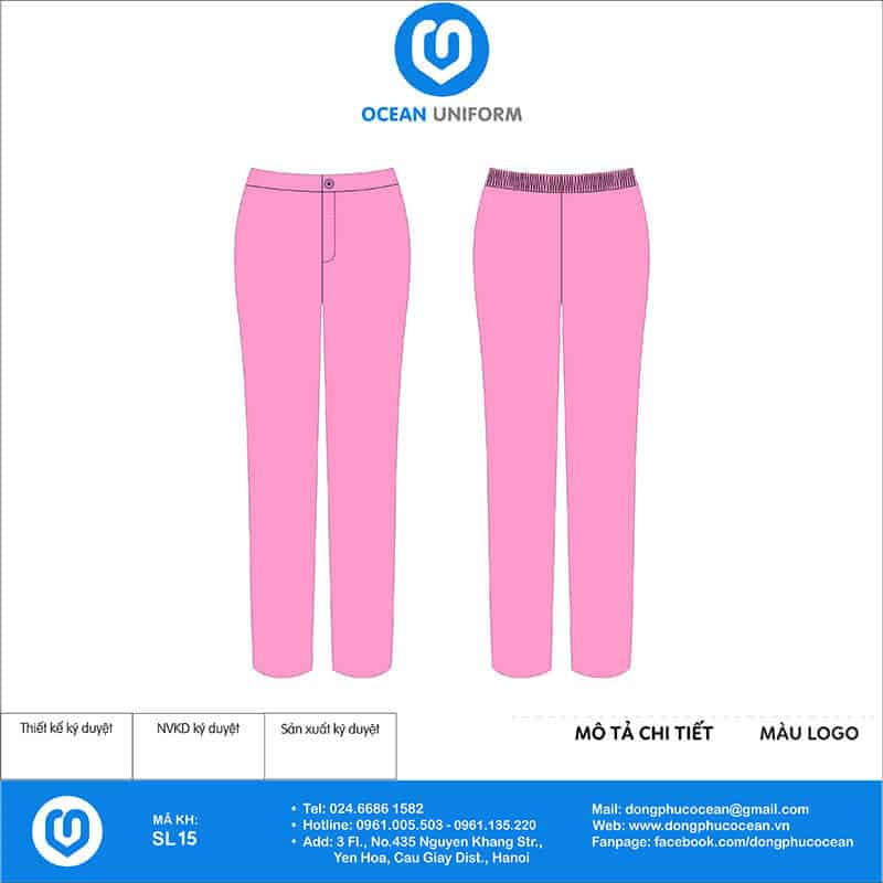 Quần đồng phục Spa màu hồng