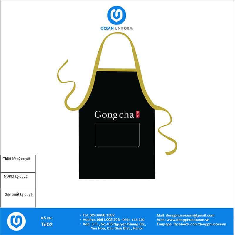 Tạp dề đồng phục trà sữa Gongcha