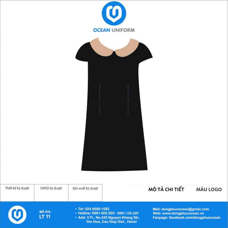 Váy đồng phục lễ tân màu đen phối cổ bẻ