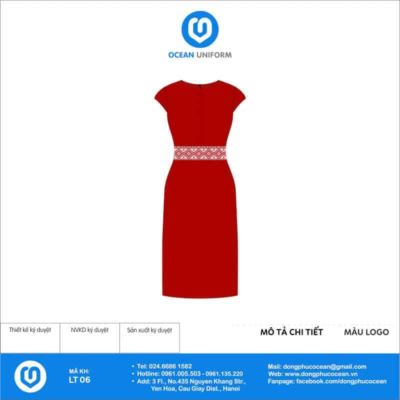 Váy đồng phục lễ tân màu đỏ khuy chéo mặt sau