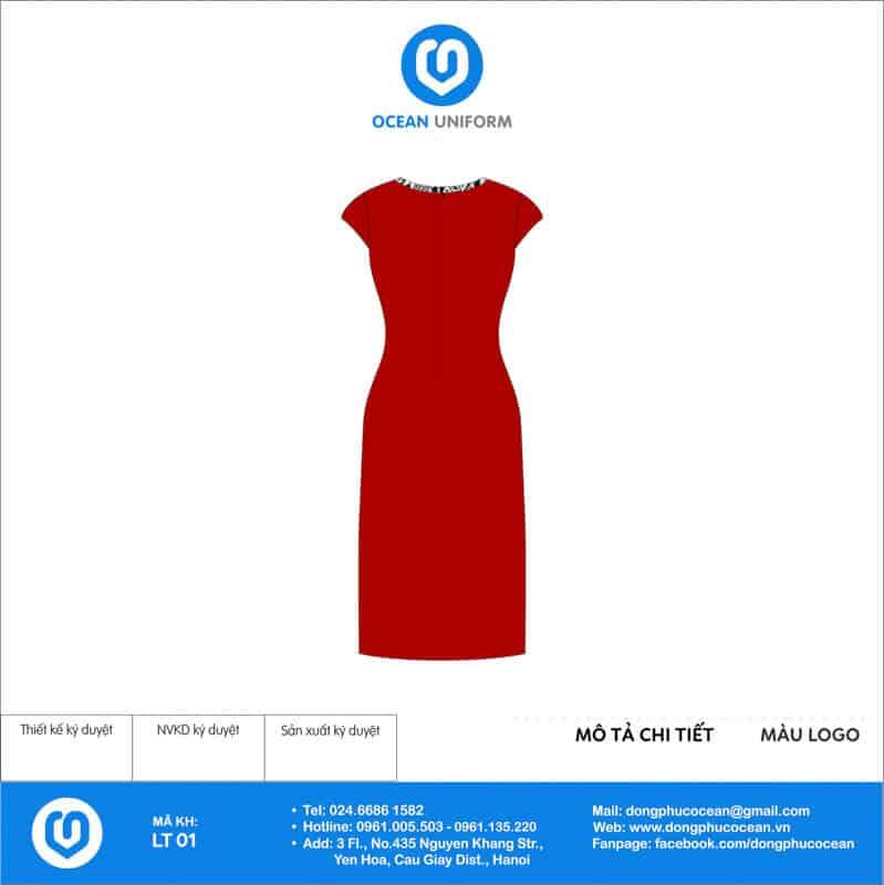 Váy đồng phục lễ tân màu đỏ xẻ tà trước mặt sau