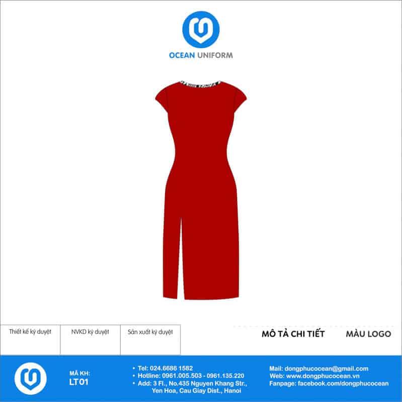 Váy đồng phục lễ tân màu đỏ xẻ tà trước