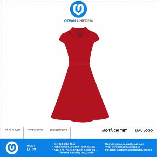Váy đồng phục lễ tân màu đỏ xòe