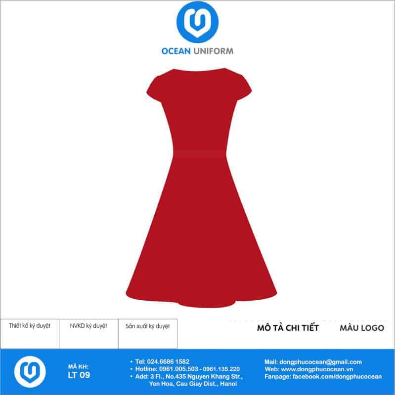 Váy đồng phục lễ tân màu đỏ xòe mặt sau