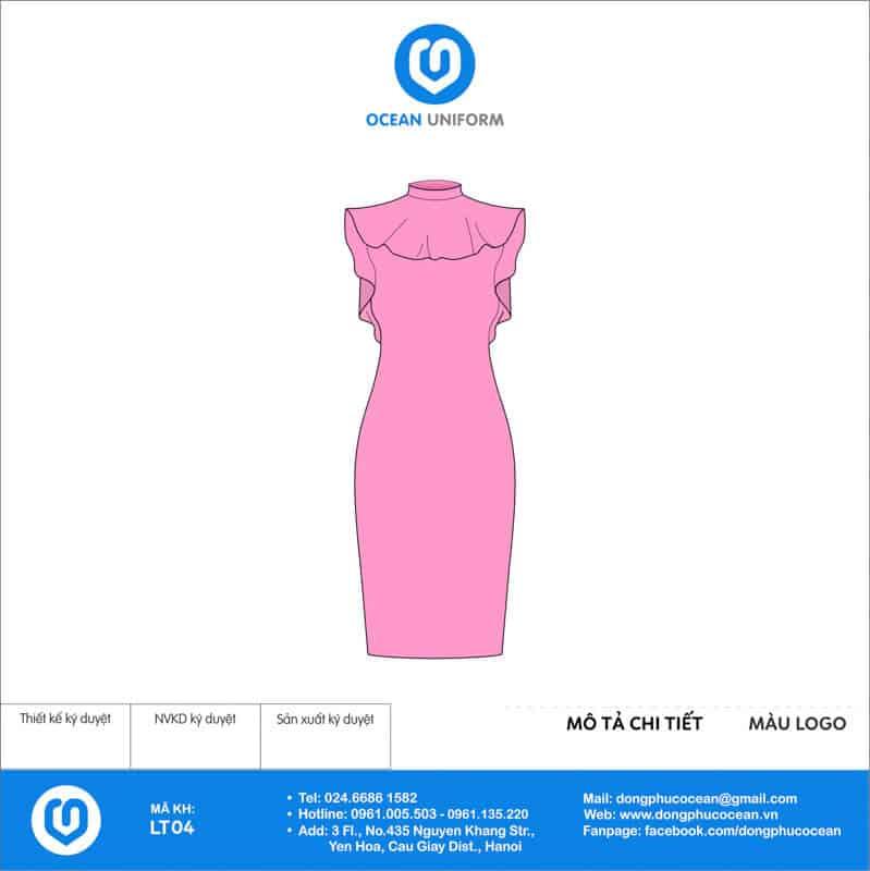 Váy đồng phục lễ tân màu hồng bèo cổ