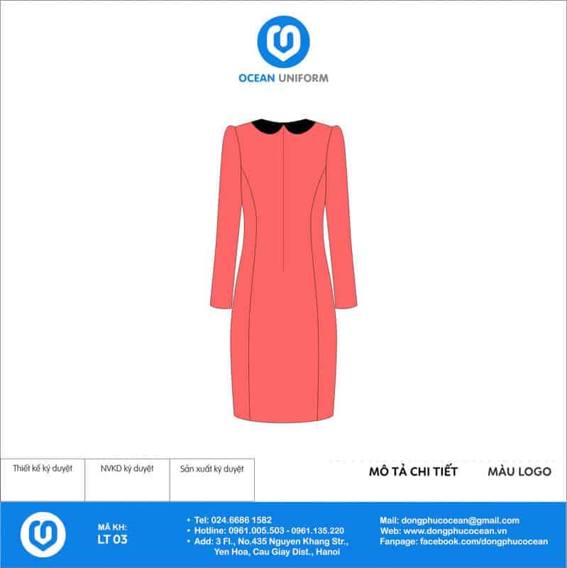 Váy đồng phục lễ tân màu hồng tay dài mặt sau