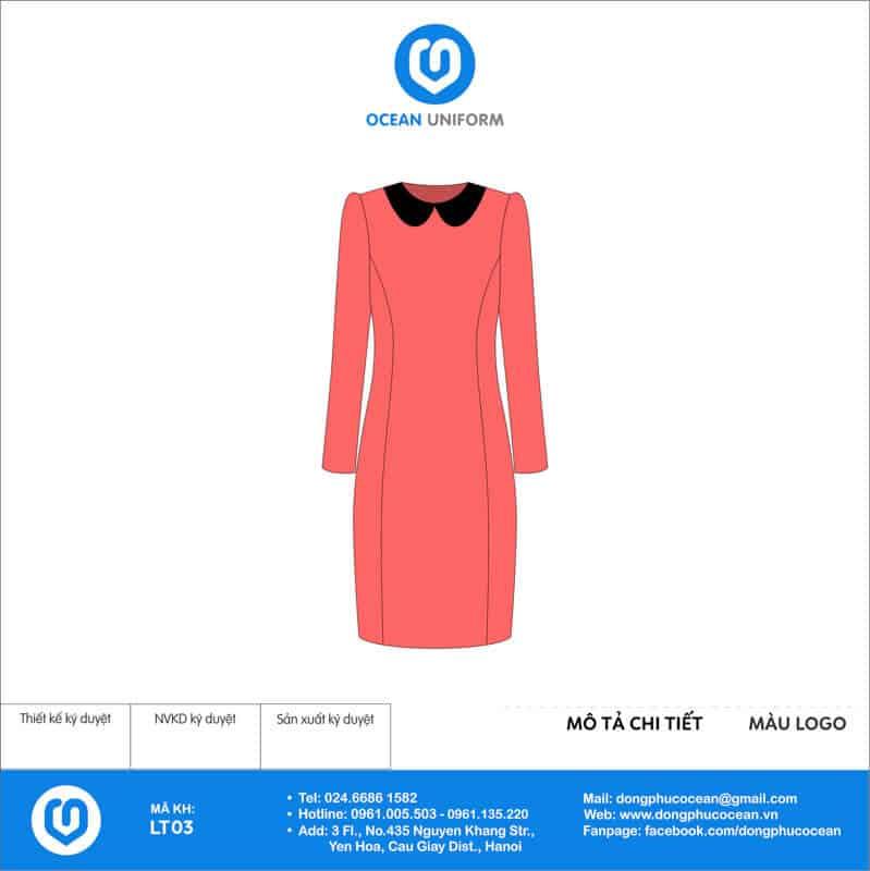 Váy đồng phục lễ tân màu hồng tay dài