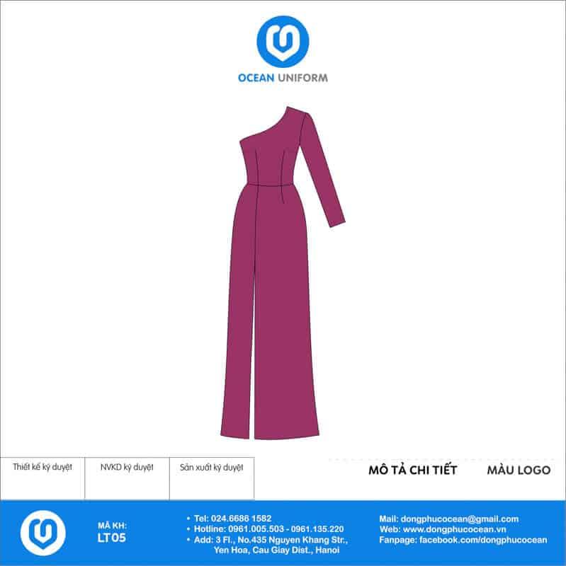 Váy đồng phục lễ tân màu tím dài vai lệch