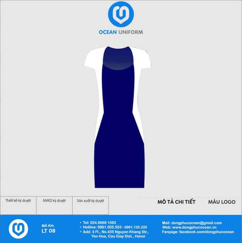 Váy đồng phục lễ tân phối màu trắng xanh