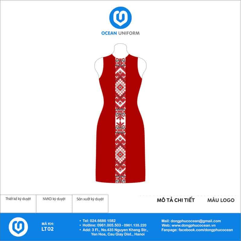 Váy đồng phục lễ tân phối thổ cẩm