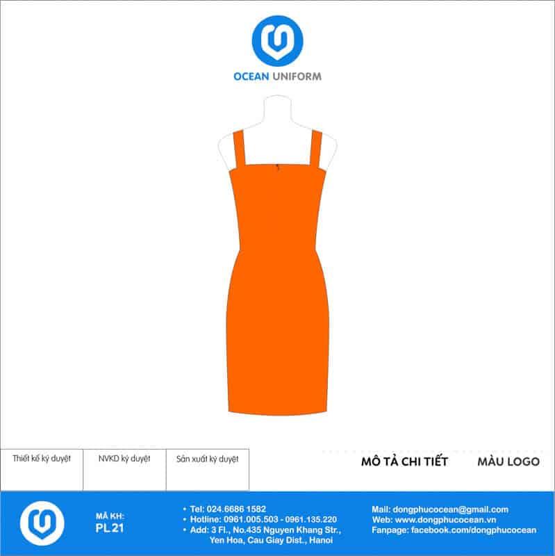 Váy đồng phục PG màu cam 2 dây mặt sau