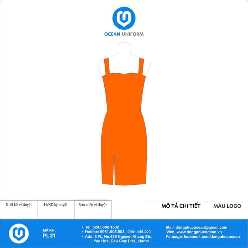 Váy đồng phục PG màu cam 2 dây