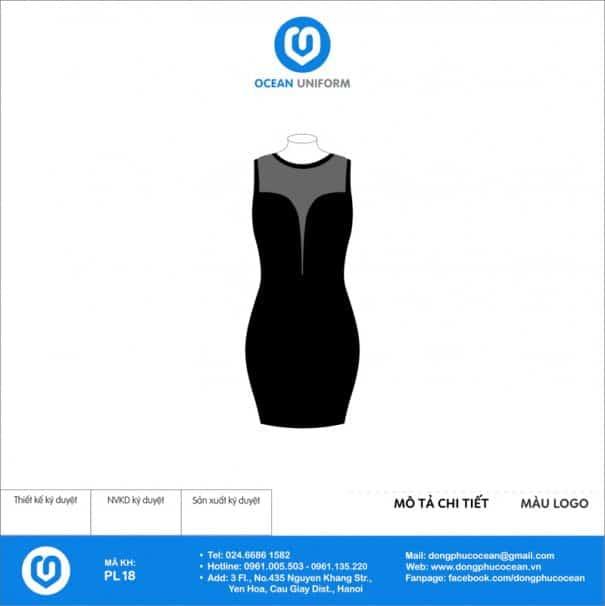 Váy đồng phục PG màu đen phối ren