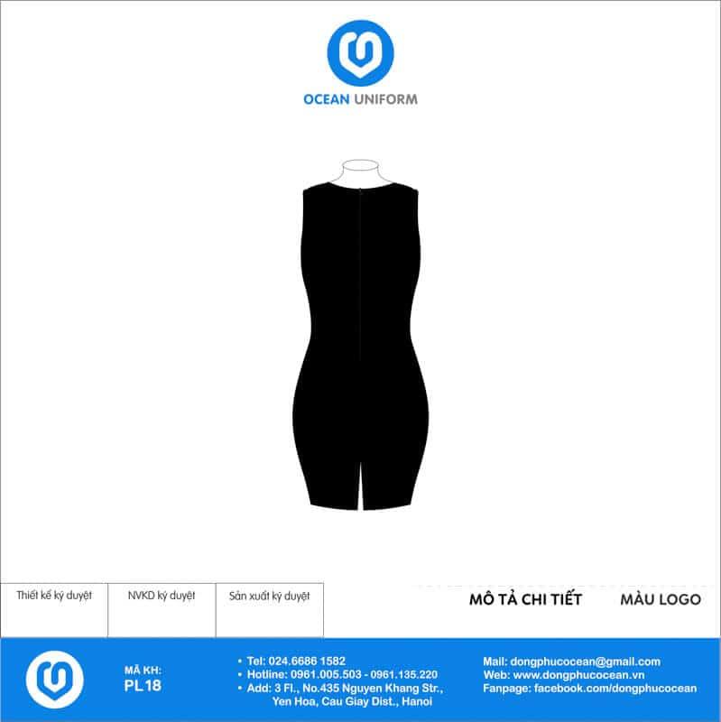 Váy đồng phục PG màu đen phối ren mặt sau