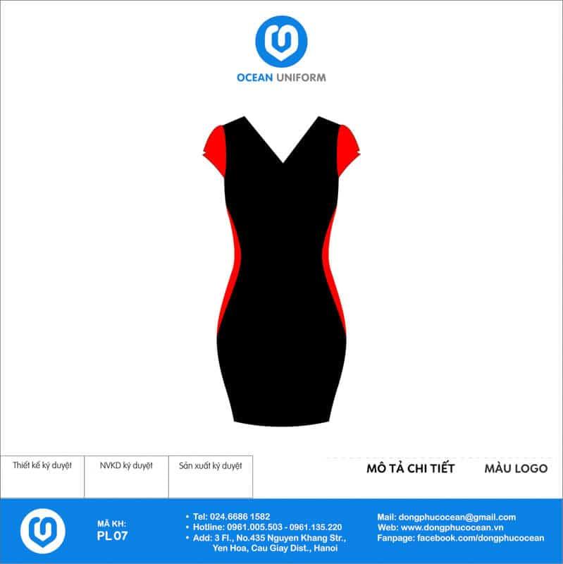 Váy đồng phục PG màu đen tay đỏ