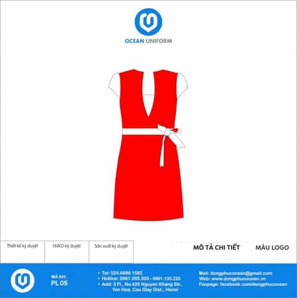 Đồng phục PG màu đỏ phối trắng