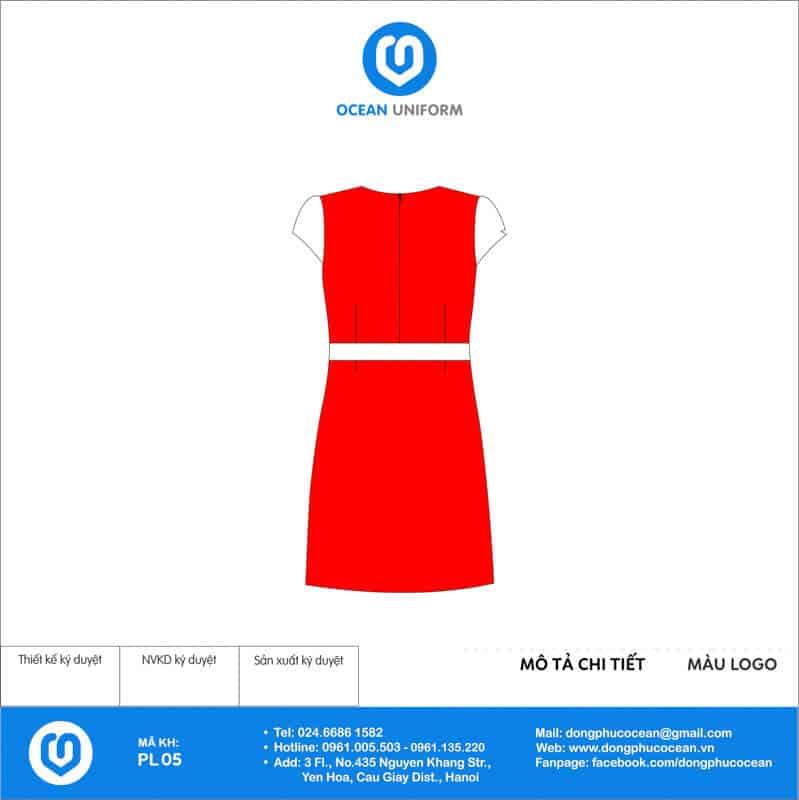 Váy đồng phục PG màu đỏ phối trắng mặt sau