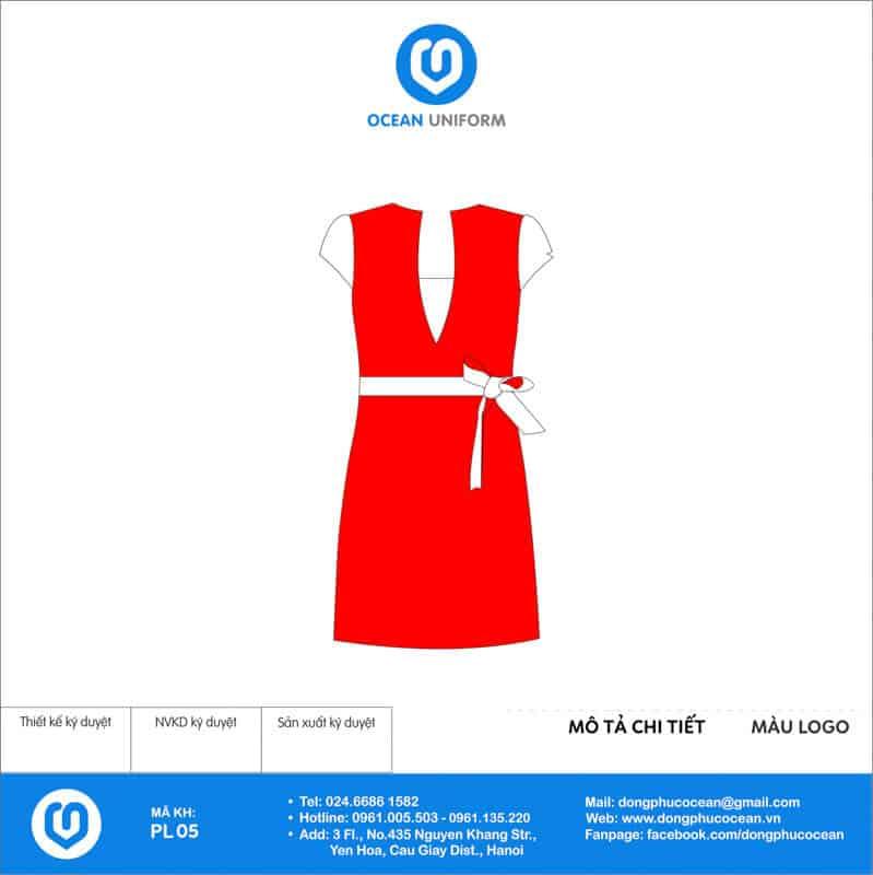 Váy đồng phục PG màu đỏ phối trắng