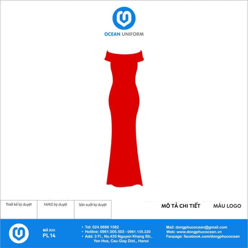 Váy đồng phục PG maxi tà dài màu đỏ mặt sau
