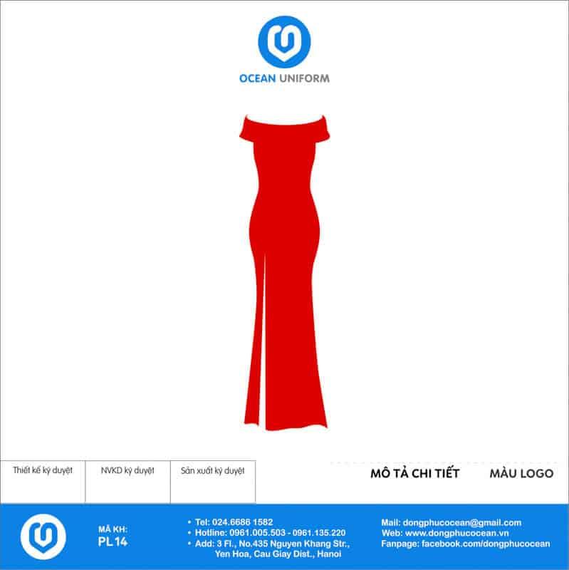Váy đồng phục PG maxi tà dài màu đỏ