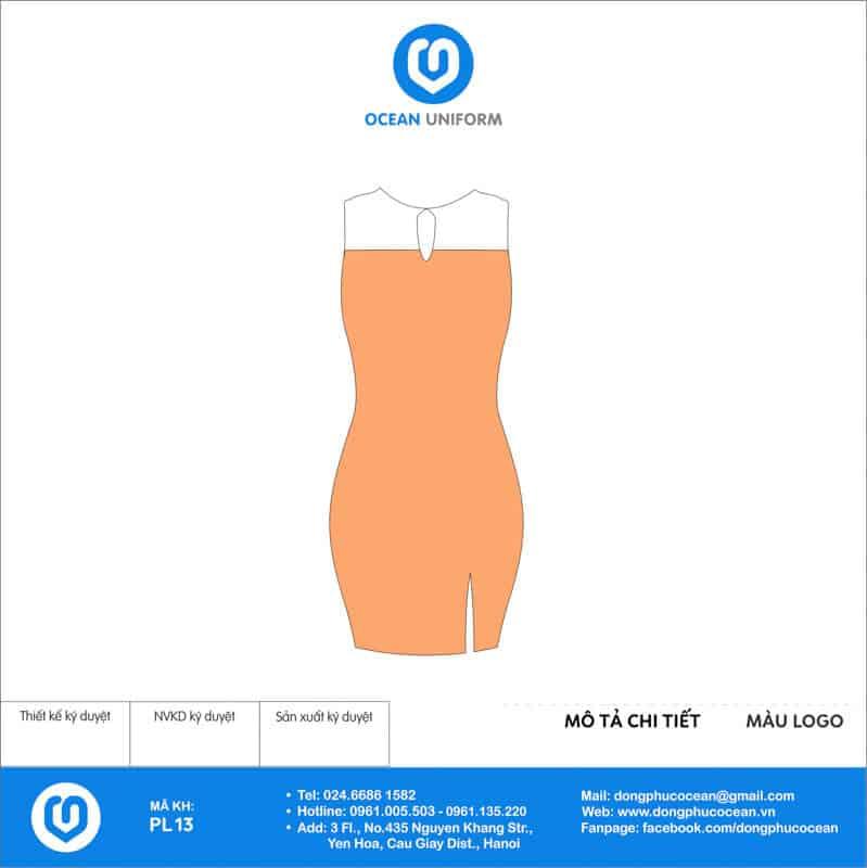 Váy đồng phục PG màu cam trắng