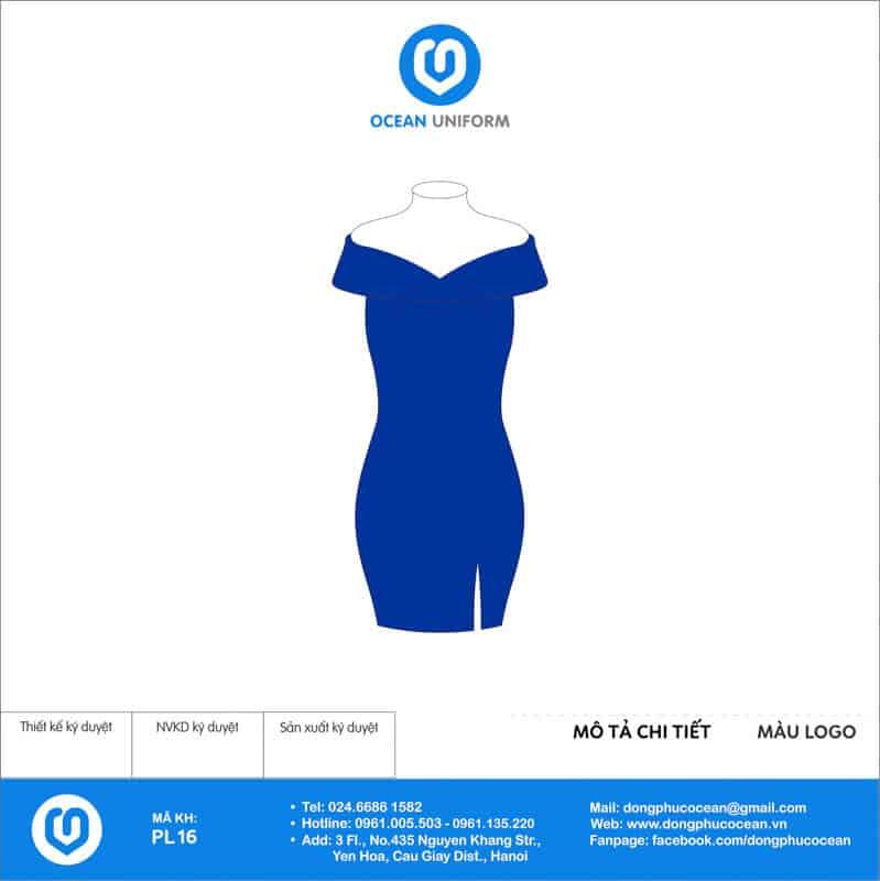 Váy đồng phục PG trễ vai màu xanh dương