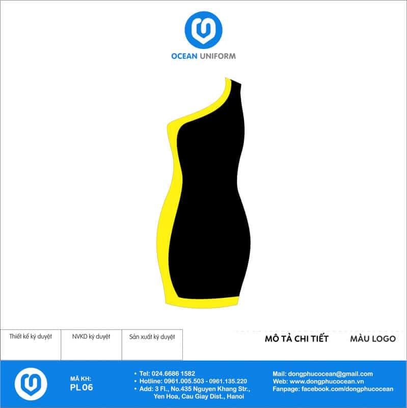Váy đồng phục PG màu vàng đen mặt sau