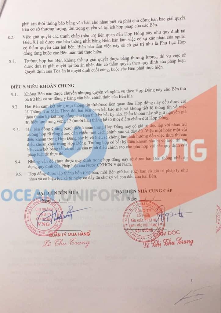 Hợp đồng giao dịch giữa Ocean và công ty đối tác