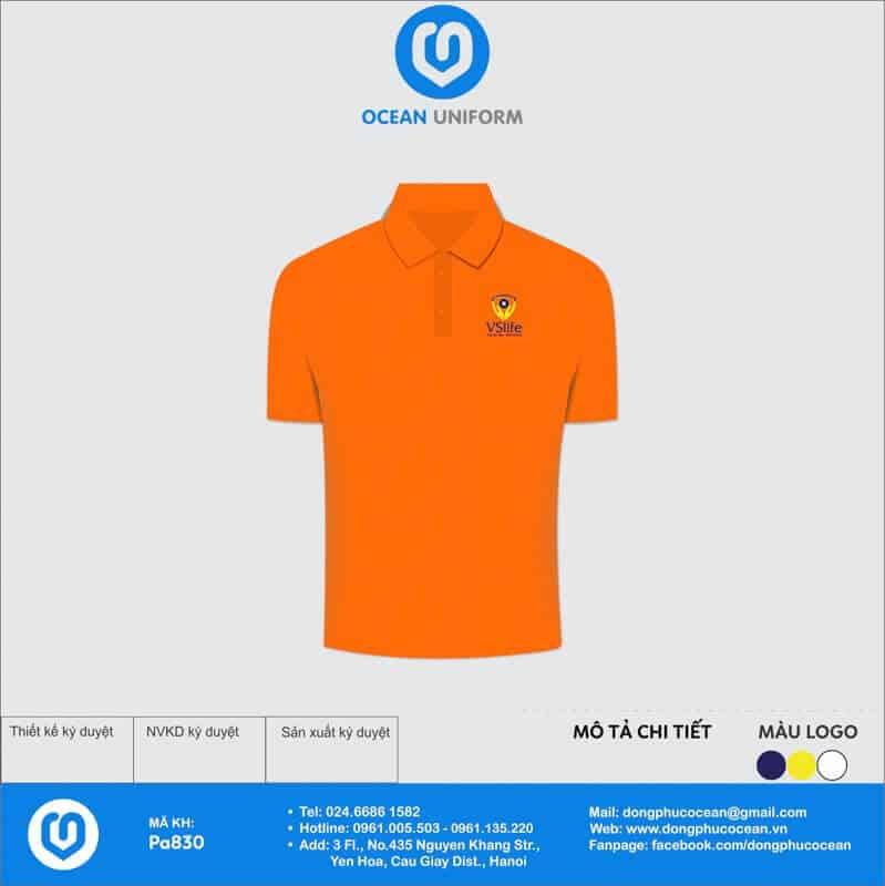 Áo lớp có cổ màu cam