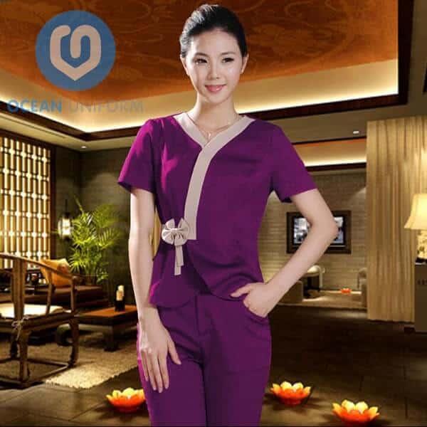 Hình ảnh áo quây đồng phục Spa màu tím