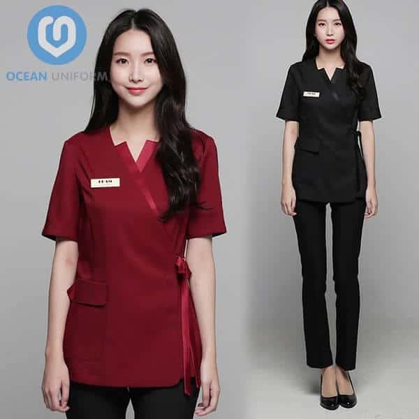 Hình ảnh đồng phục nhân viên Spa Hàn Quốc màu đỏ đen