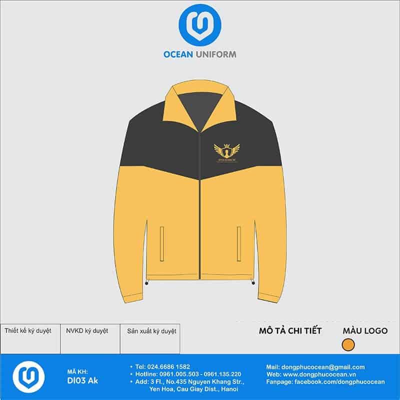 Mẫu in áo khoác nhóm màu vàng đen