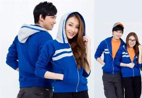 Mẫu in áo khoác nhóm màu xanh