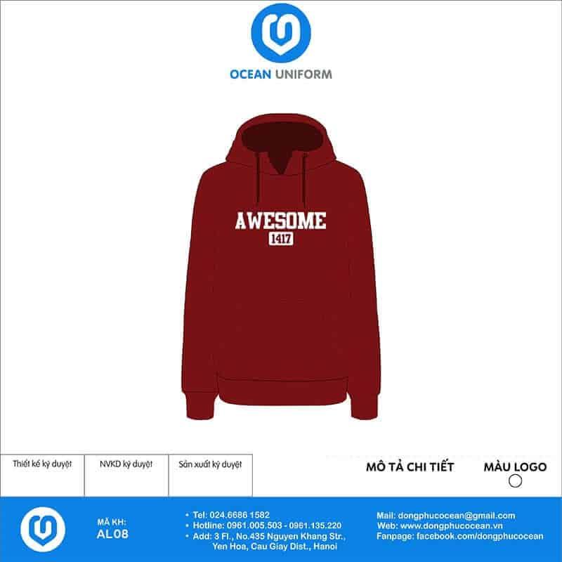 Áo hoodie mẫu đỏ đơn giản