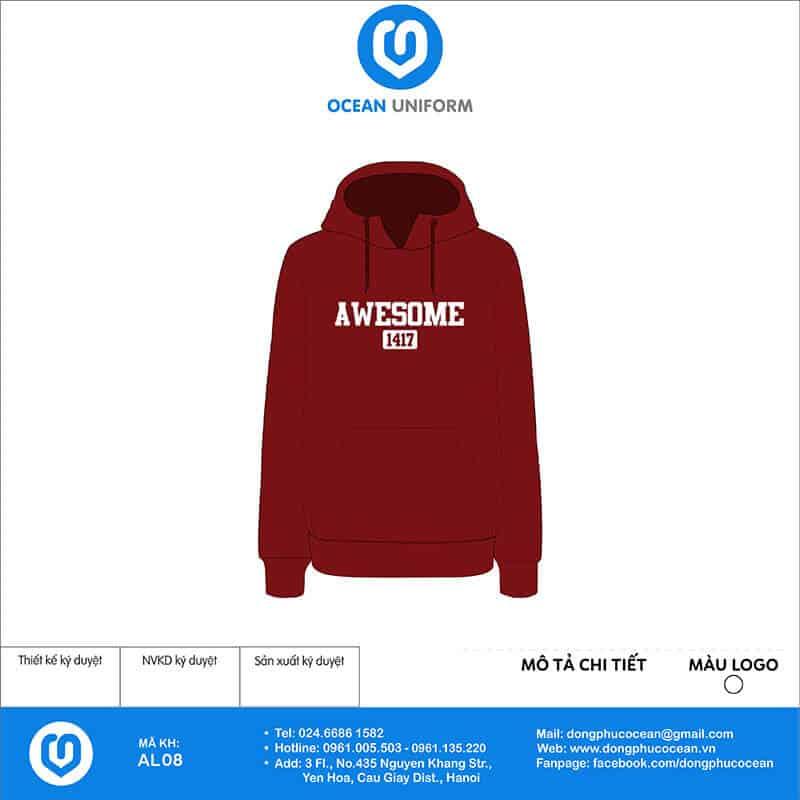 In áo hoodie màu đỏ mận