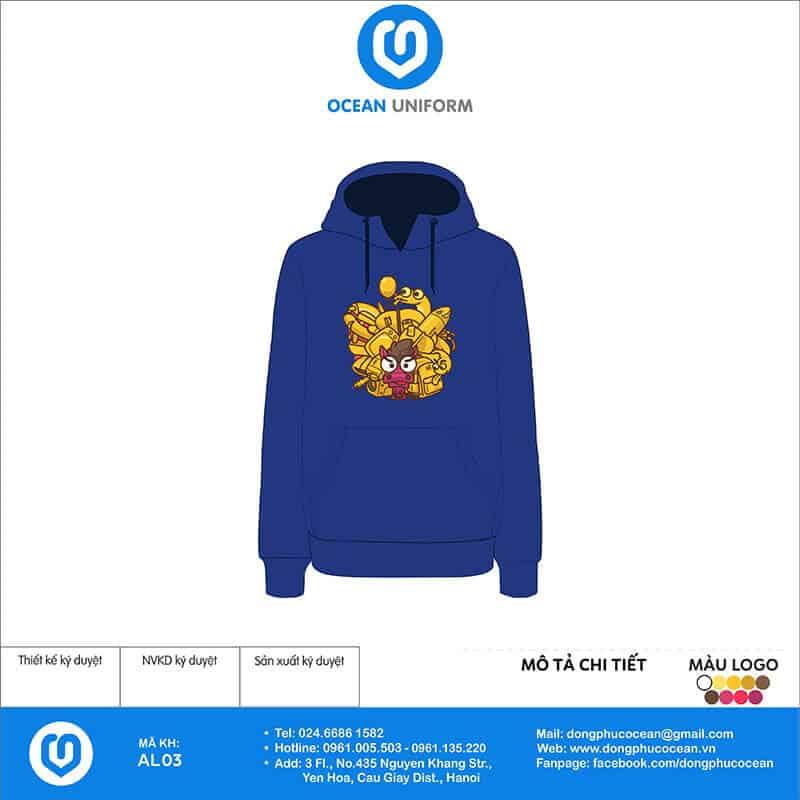 In áo hoodie theo yêu cầu màu xanh dương