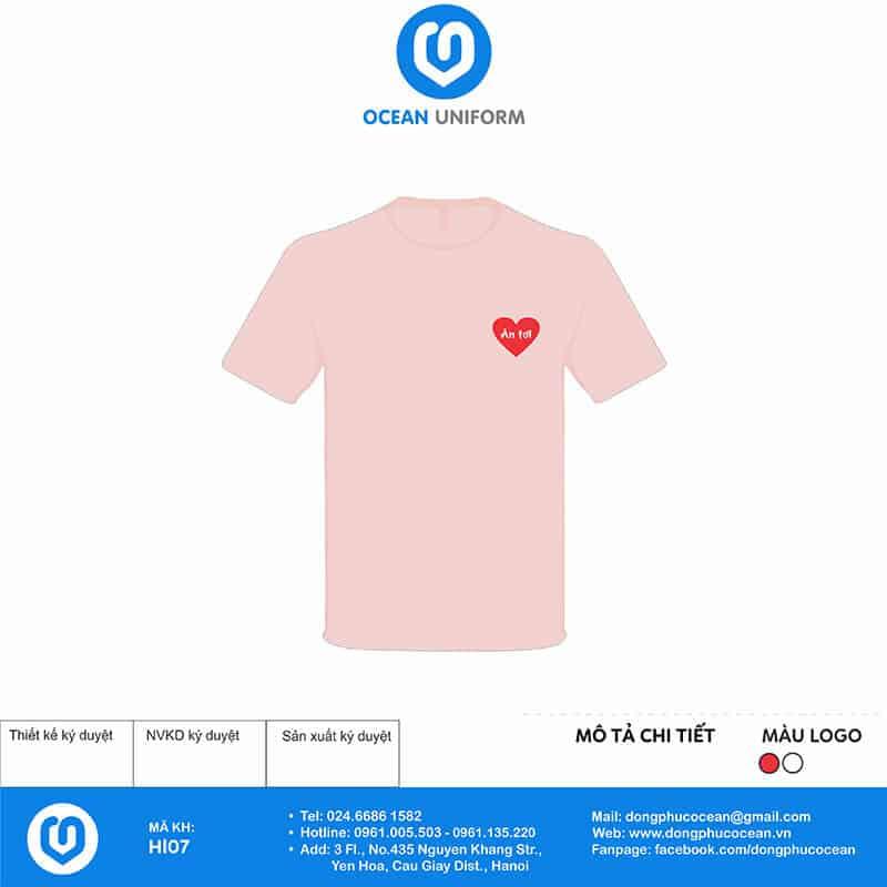 Áo phông cổ tròn màu hồng nhạt tươi sáng ngọt ngào