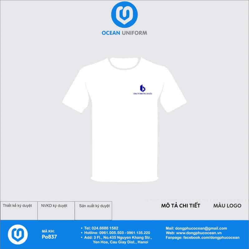 In áo thun cotton trắng logo góc phải nhẹ nhàng thanh lịch