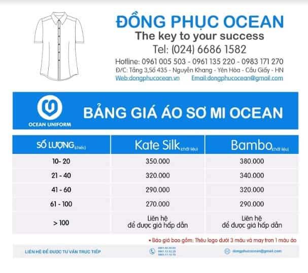 Bảng giá áo sơ mi Ocean