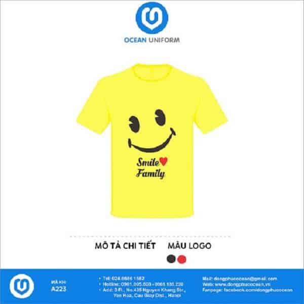 Áo phông đồng phục nhóm màu vàng trẻ trung năng động với họa tiết dễ thương