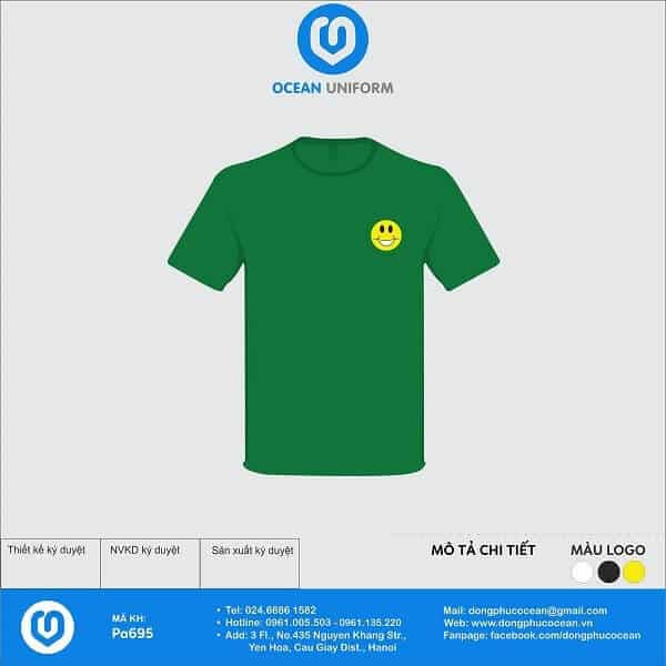 Áo phông nhóm màu xanh logo vàng mang đến sự tươi mới