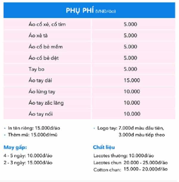 Bảng giá chi tiết theo từng loại áo để bạn dễ dàng lựa chọn